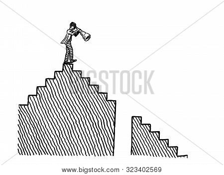 Freehand Pen Drawing Of Business Man Atop A Staircase Observing Difficulties In The Descending Way A