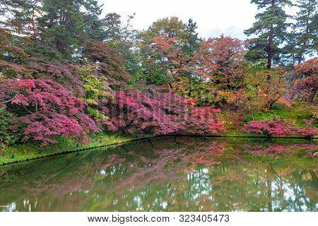 Hirosaki Castle Park Autumn Foliage Scenery View. Beautiful Landscapes Of Multicolor Reflecting On S