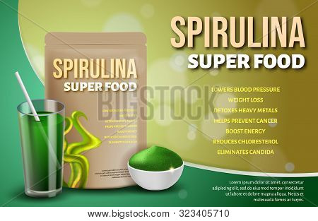 Realistic 3d Bottle Spirulina Superfood, Drink Cocktail Glass, Seaweed Powder Advertisement. Health