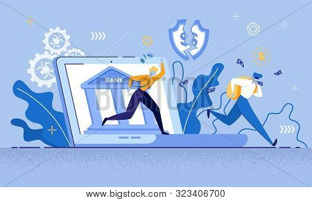 Man Thief In Mask Run, Steal Money Internet Bank Vector Illustration. Cyber Crime, Online Credit Car
