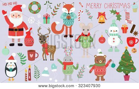 Vector Graphics. Beautiful Cartoon Christmas Set. Christmas Cute Characters And Attributes. Handwrit