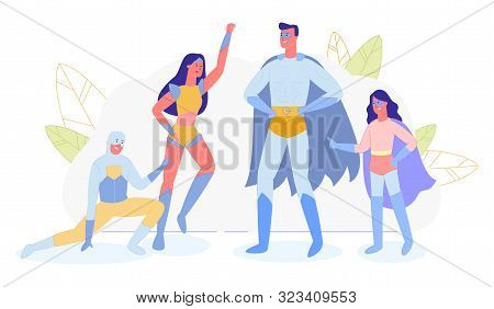 Superhero Family, Parents And Kids In Super Hero Costumes Isolated On White Background. Mother, Fath