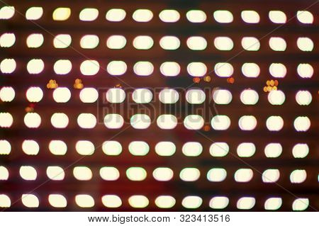 Disco party. Light grid landscapes. Buzzing synthesizers. Abstract background. Defocused lights neon color design. Abstract holographic background. Hallucinations effect. Blurred lights background. poster