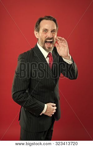 Loud Announcement. Man Shouting To You. Man Try To Persuade You In Something. Mature Charismatic Spe
