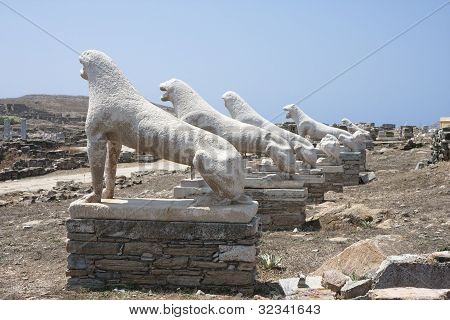 Terrace Of The Lions On Delos,greece