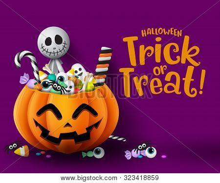Halloween Trick Or Treat Pumpkin Vector Background Template. Halloween Trick Or Treat Greeting Text