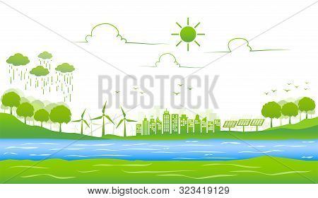 Ecology Environmentally Friendly With Green City And Sustainable Development Concept, Vector Illustr
