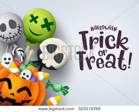 Trick Or Treat Hallowenn Greeting Card Vector Background. Halloween Trick Or Treat With Pumpkin And