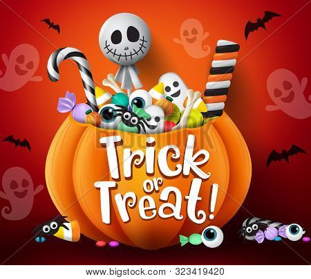 Trick Or Treat Vector Design. Trick Or Treat Halloween Pumpkin Basket With Sweets And Scary Candies