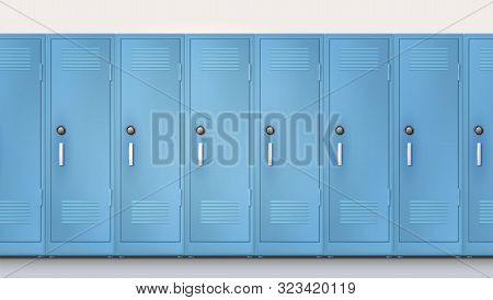 Blue cupboards with combination lock and handles. Welcome back to school. Set of realistic school locker, metal cabinets with closed doors. Vector template, 3d illustration poster