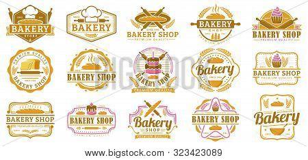 A Collection Of Bakery Logo Template, Bakery Shop Emblem Set, Vintage Retro Style Logo Pack