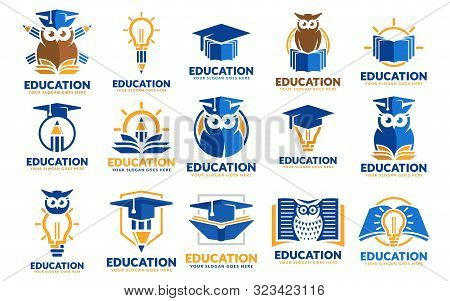 Set Of Education Logo Design Templates, Educational Logo Design Template Pack, Perfect Or Educationa