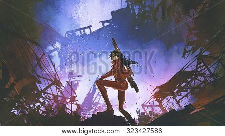 Futuristic Soldier Woman With Gun Standing Against The Ruined City, Digital Art Style, Illustration
