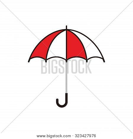 Umbrella Icon Vector Isolated On White Background. Colored Vector Umbrella. Umbrella Icon Flat Vecto