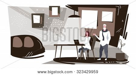 Businesspeople Couple Working Together Businessman Dictating Information To Woman Assistant Typing T