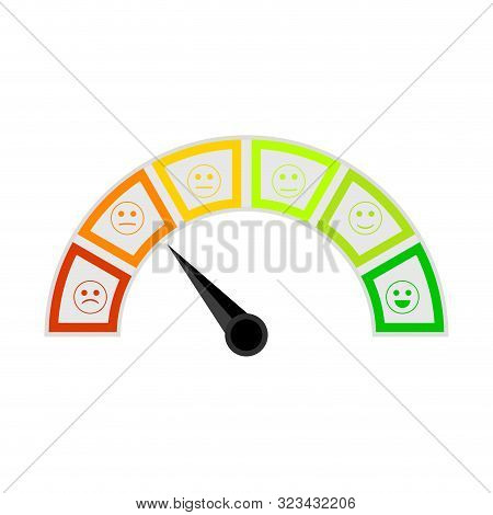 Credit Score Meter, Indicate Solvency Client Bank. Measure Arrow Pointer Dashboard Loan Level. Vecto