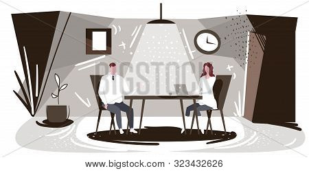 Businesspeople Sitting At Workplace Man Dictating Information To Woman Assistant Typing Text On Lapt