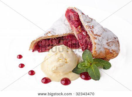 Fresh Cherry  Cake With Ice Cream