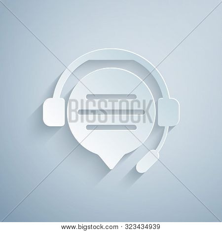 Paper Cut Headphones With Speech Bubble Chat Icon Isolated On Grey Background. Support Customer Serv