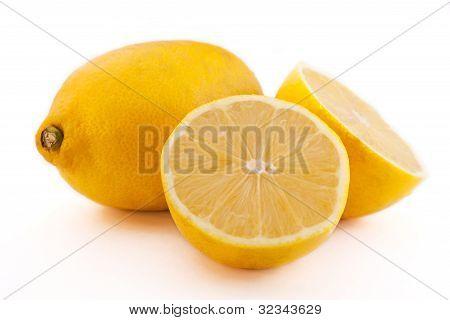 Fresh Lemons On White Fone