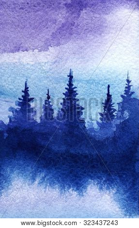 Abstract Watercolor Landscape. Dark Blue Coniferous Forest Silhouette Shape. The Tops Of The Christm