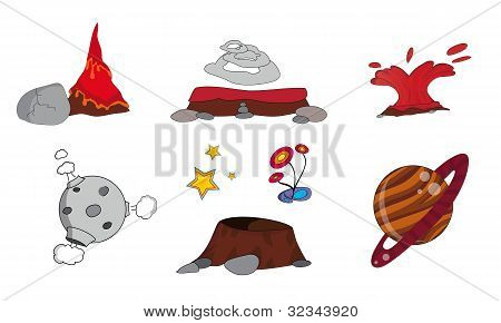 Cartoon outer space set (illustration)
