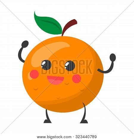 Happy Smiling Orange Fruit Isolated Vector Illustration. Funny Character With Happy Face, Juicy Citr