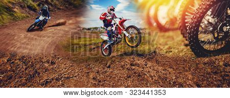 Banner Rider On Mountain Dirtbike Enduro Participates In Motocross, Jumps On Springboard Against Bac