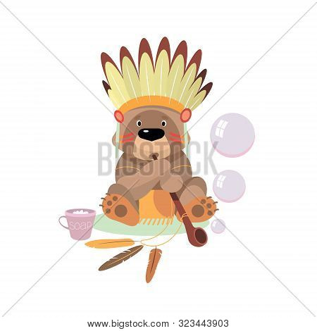 Cartoon Bear Dressed As An Indian Blows Bubbles From The Tube Of Peace