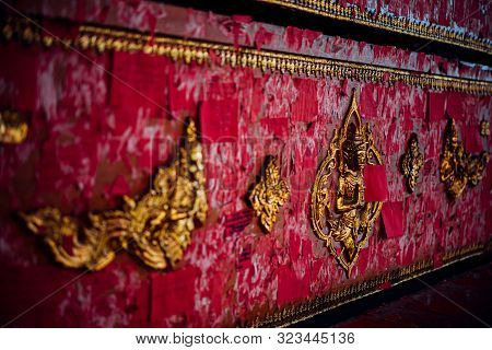 Thai Buddhism People In Buddhist Pray For Benefaction Worship By Coffin Donation (donate A Coffin) A