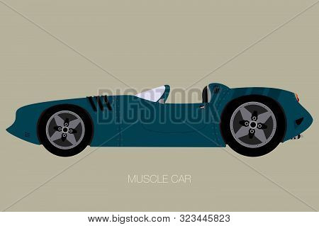 Convertible Custom Muscle Car Icon. Side View Car, Fully Editable