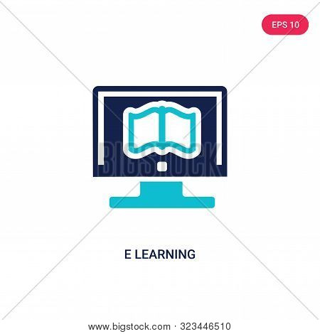 e learning icon in two color design style.