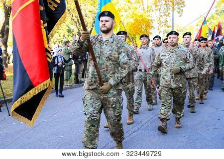 Dnipro City, Ukraine, 10 14 2018. Defender Of Ukraine Day. Soldiers Of The Volunteer Battalion Of Th