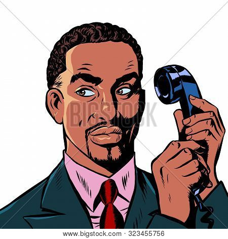 Serious African Man Talking On A Retro Phone. Isolate On White Background. Pop Art Retro Vector Illu
