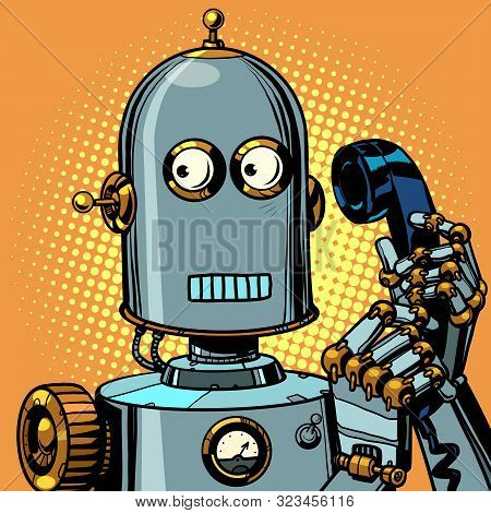 Scared Funny Robot Talking On A Retro Phone. Pop Art Retro Vector Illustration Drawing