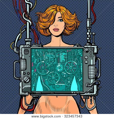 Cyberpunk Naked Robot Woman Virtual Reality Concept. Pop Art Retro Vector Illustration Drawing Vinta