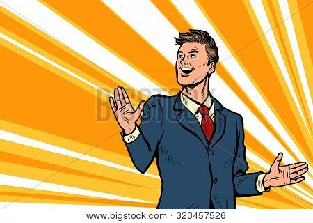 Handsome Man Businessman Leader Presents. Advertising Poster. Pop Art Retro Vector Illustration Draw