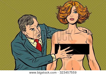 Harassment. Male Businessman Groping A Woman. Unacceptable Behavior. Violation Of Work Ethics. Pop A