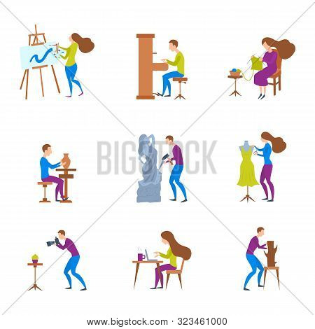 Cartoon Color Characters People And Artistic Hobbies Concept Flat Design Include Of Sculptor, Musici