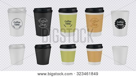 Realistic Paper Coffee Cup. Disposable Plastic And Paper Coffee Mugs Mockup. 3d Vector Illustration