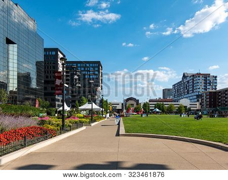 City Park And Cityscape