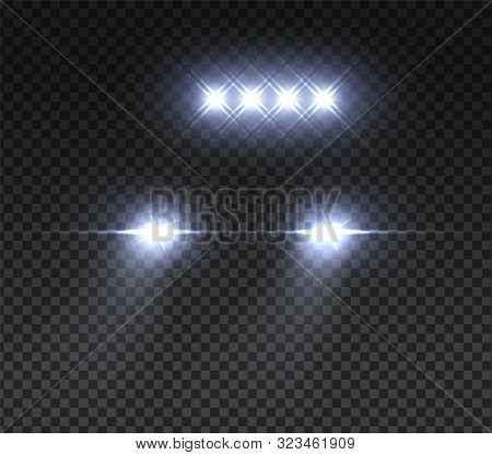 Realistic Car Headlights. Night Road Led Offroad Car Light. Vector Image Light In Dark Effect On Tra
