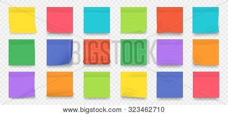 Sticky Notes. Square Colored Blank Notepad Pages With Crumpled Edges Isolated On Transparent Backgro