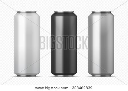 Realistic Metal Cans. Aluminum Beer And Lemonade Beverage Can Of Different Colors. Vector Illustrati