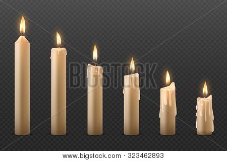 Candle Flame. Burning Realistic 3d Wax Candle, Different Christmas Birthday Church And Party Glowing