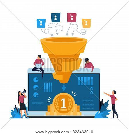poster of Funnel leads generation. Inbound marketing and attracting customers strategy, increasing conversion rate concept. Vector illustration vibrant creative concepts identify potential customer