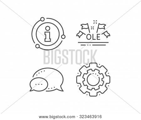 Ole Chant Line Icon. Chat Bubble, Info Sign Elements. Championship With Flags Sign. Sports Event Sym