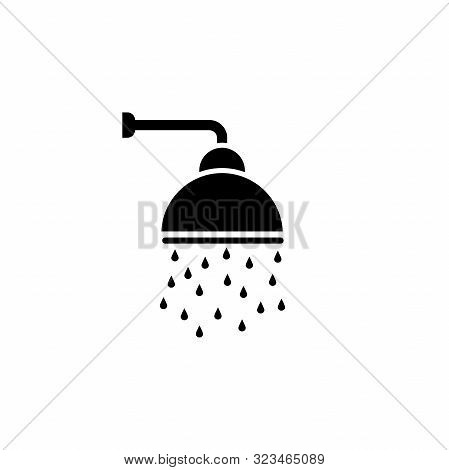 Shower Vector Icon, Shower Faucet Flat Icon With Flowing Water Drops Symbol.