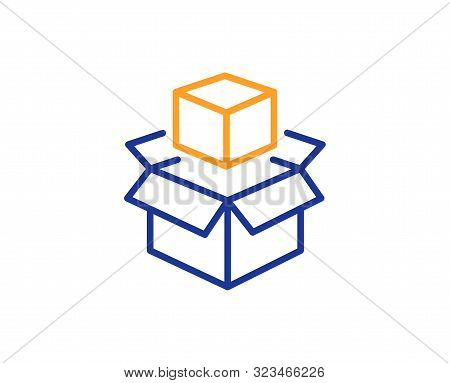 Delivery Parcel Sign. Box Line Icon. Packing Boxes Symbol. Colorful Outline Concept. Blue And Orange