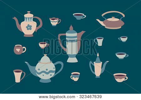 Retro Set Of Cups And Teapots In Scandinavian Style. Cartoon Children's Cookware Collection. Hyugge